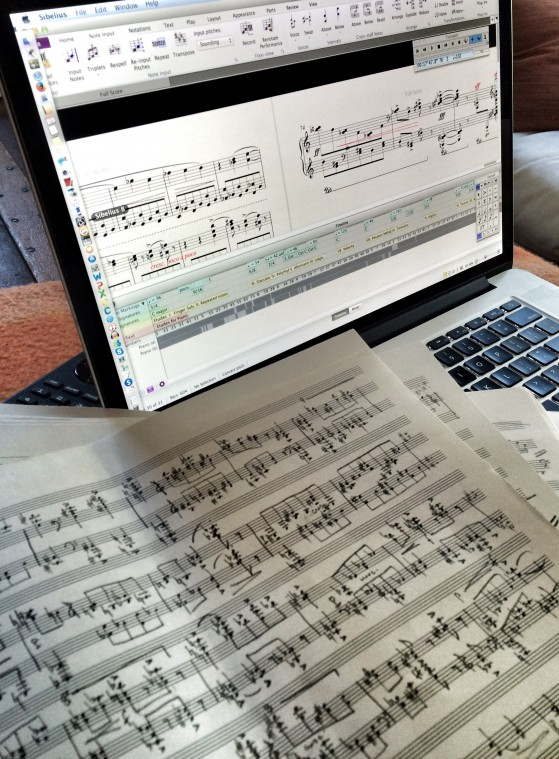 Transferring the music from paper-and-pencil to digital.